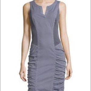 XCVI gray ruched split neck dress